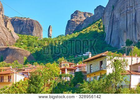 Kastraki village at the foot of Meteora rocks, Thessaly, Greece