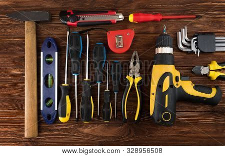 Work Tool Of The Wizard. Screwdrivers, Pliers, Wire Cutters, Building Level, Tape Measure, Hammer, W