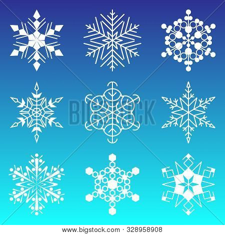 Snowflakes Collection Isolated On Blue Background. Flat Snow Icons, Silhouette. Element For Christma