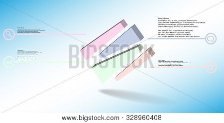 3D Illustration Infographic Template With Embossed Cube Randomly Divided To Four Moved Parts Askew A