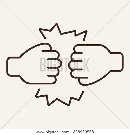 Clash Of Fists Line Icon. Fist, Clashing, Hand. Gesturing Concept. Vector Illustration Can Be Used F
