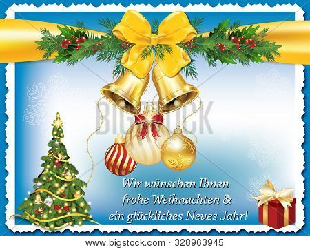 Classic Greeting Card With German Text. Message Translation: We Wish You All A Merry Christmas And A