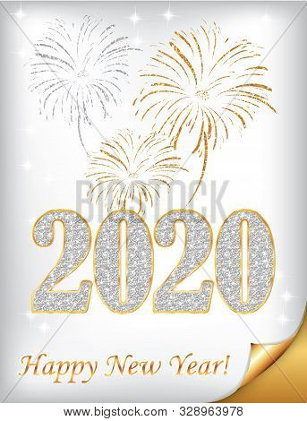 Silver And Golden Greeting Card For The New Year 2020 Celebration.