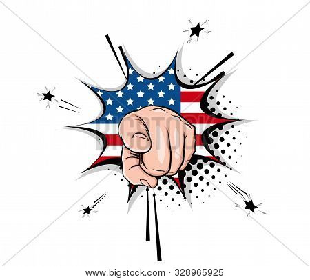 Vintage Poster With Uncle Sam Show Hand Ask Vote 2020 On Halftone Background. Human Arm Gesture Cart