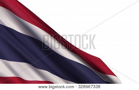 The Realistic Flag Of Thailand Isolated On A White Background. Vector Element For Constitution Day,