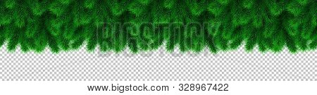 Christmas Garland And Decoration From Fir Branches. Seamless Vector Xmas Border Isolated On Transpar