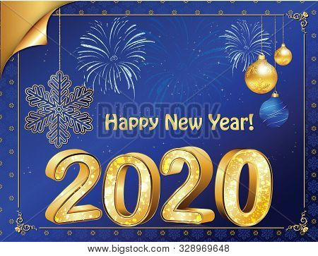 Happy New Year 2020! Vintage Greeting Card With Blue Background.