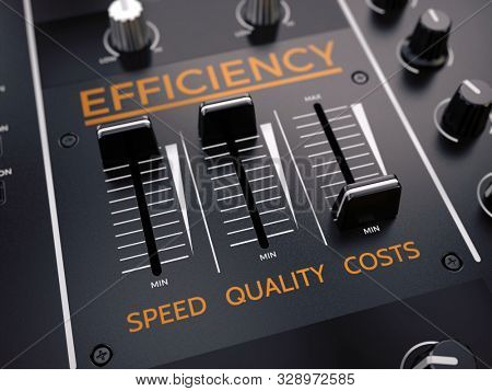 Level control of quality speed costs. Increased quality, speed and reduced cost. Efficience Management concept. 3d rendering