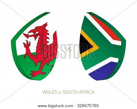 Wales V South Africa, Icon For Rugby Tournament. Rugby Vector Icon.