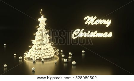 3d Render Of Golden Xmas Tree Made Of Christmas Baubles On Black Background. Greeting Card