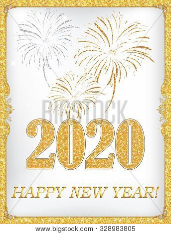 Happy New Year 2020! - Greeting Card With Classic Design.