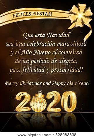 Spanish Greeting Card. Text Translation: May This Christmas Be A Wonderful Celebration And The New Y