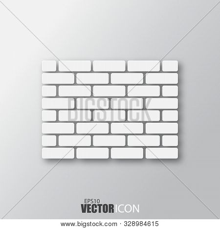 Brick Wall Icon In White Style With Shadow Isolated On Grey Background.
