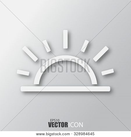 Sunrise Icon In White Style With Shadow Isolated On Grey Background.