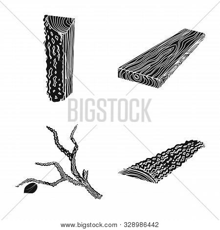 Vector Illustration Of Hardwood And Construction Symbol. Set Of Hardwood And Wood Vector Icon For St