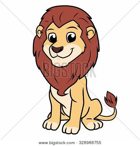 Illustration Of A Cartoon Lion Sitting On A White Background