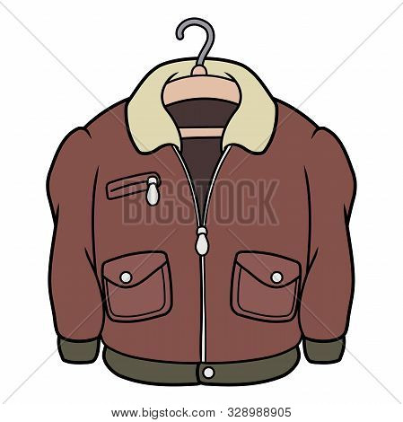 Illustration Of A Classic Leather Jacket On A Hanger On A White Background