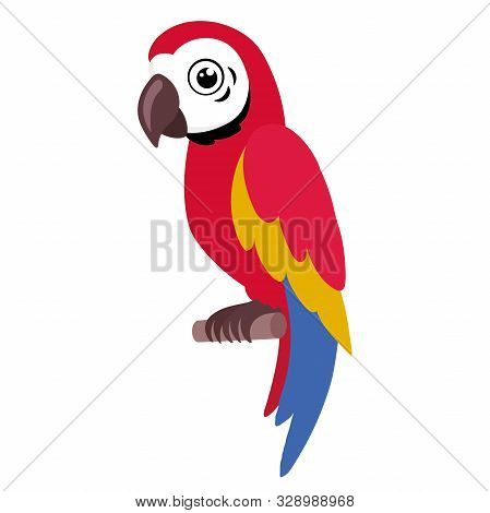 Illustration Of A Colorful Parrot Sitting On A Branch On A White Background