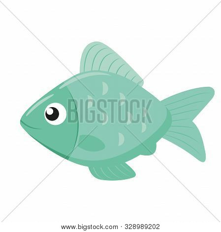 Illustration Of A Cute Little Fish Flat Icon On A White Background