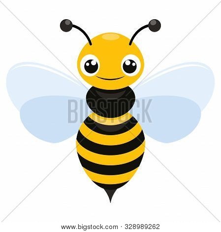 Illustration Of A Smiling Flying Bee Flat Icon On A White Background