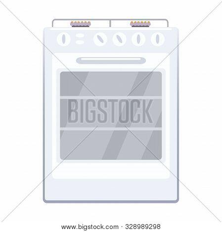 Illustration Of A Washing Machine Flat Icon On A White Background