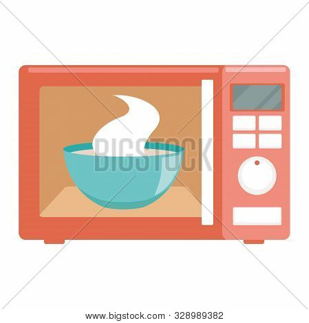 Illustration Of A Microwave Flat Icon On A White Background