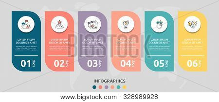 Vector Infographic Flat Template Rectangle For Six Diagrams, Graph, Presentation. Business Concept W