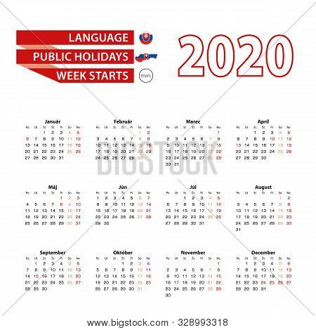 Calendar 2020 In Slovak Language With Public Holidays The Country Of Slovakia In Year 2020. Week Sta
