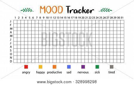 Mood Tracker Calendar. Year In Pixels, Mood Planner, Feelings Tracker. Vector
