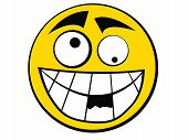 Yellow Smiley Icon Stupid with knocking out teeth poster