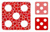 Dice mosaic of unequal pieces in various sizes and shades, based on dice icon. Vector uneven pieces are organized into collage. Dice icons collage with dotted pattern. poster