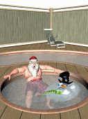 Santa and Frosty Relaxing in a Hot Tub. Oops Frosty Melted. Bah Humbug series poster