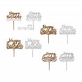 Set of sign Happy birthday cake toppers for laser or milling cut. Cut for decoration design. Happy birthday topper. Holiday greeting. Elegant decoration. Laser cut. Isolated design element. poster