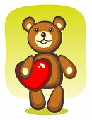 Toy bear and heart on a green background. Valentine's illustration. poster