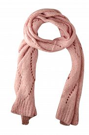 Pink Scarf Isolated On White Background.scarf Top Front View .