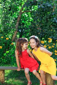 Two Beautiful  Little Girls Having Fun And Embracing  At Meadow At Summer Day