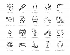 Flu Disease Prevention, Cold Symptoms Flat Line Icons Set. Fever Headache Sneeze, Sore Throat Vector