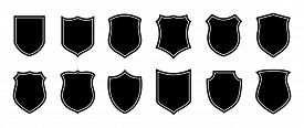 Police Badge Shape. Vector Military Shield Silhouettes. Security, Football Patches Isolated On White
