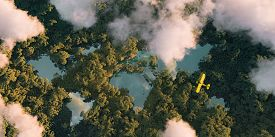 Sustainable Habitat World Concept. Distant Aerial View Of A Dense Rainforest Vegetation With Lakes I