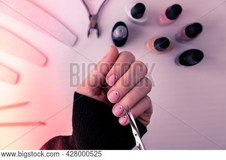 Woman Hands, Nail Polish, Manicure Tools Table Top View Flat Lay. How To Do Manicure At Home Concept