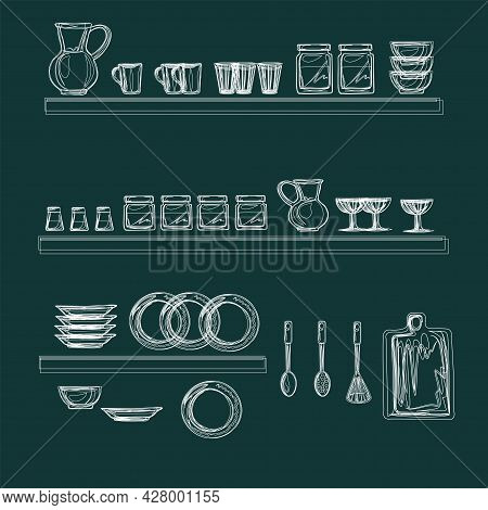 Set Of Dishes For Kitchen, Restaurant, Cafe. All Objects Can Be Moved, They Are Isolated. Ceramic It