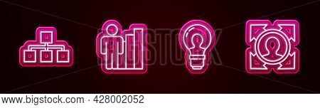 Set Line Hierarchy Organogram Chart, Productive Human, Head With Lamp Bulb And Hunting. Glowing Neon