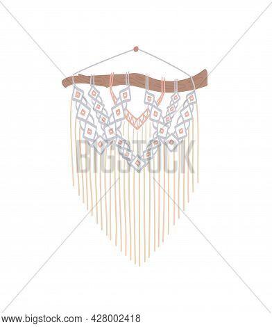 Diy Stylish Interior Decor, Handmade Craft Knots. Macrame With Fringe. Bohemian Style, .panel Of Cor