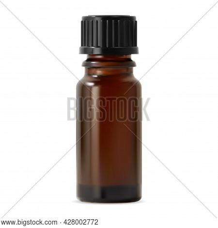 Essential Oil Bottle. Cosmetic Oil Glass Container, Vector Mockup. Amber Aromatherapy Vial, Clear Is