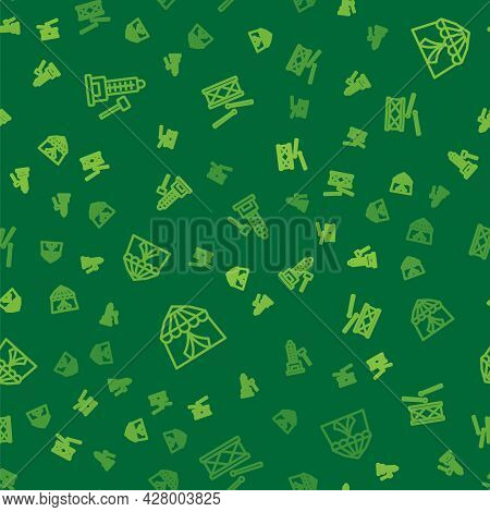 Set Line Striker Attraction With Hammer, Circus Tent And Drum Drum Sticks On Seamless Pattern. Vecto