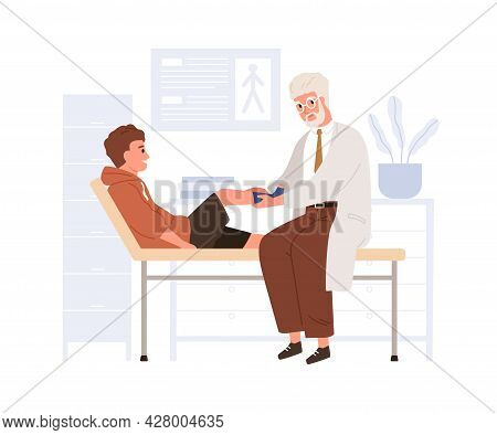 Child Patient Visiting Doctor In Hospital. Pediatrician Examining Kid With Leg Trauma. Boy In Physic