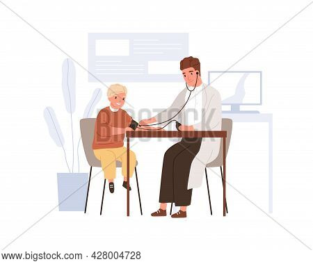 Kid Patient Visiting Doctor In Hospital Office. Pediatrician Checking And Measuring Blood Pressure O