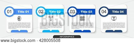 Set Line Skateboard Ball Bearing, T Tool, Wheel And . Business Infographic Template. Vector