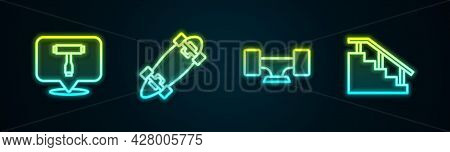 Set Line Skateboard T Tool, Longboard Or Skateboard, Wheel And Stairs With Rail. Glowing Neon Icon.