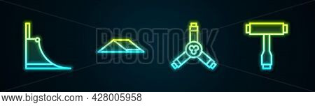 Set Line Skate Park, , Skateboard Y-tool And T. Glowing Neon Icon. Vector